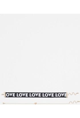 Mavi Love Yazılı Kolye Seti