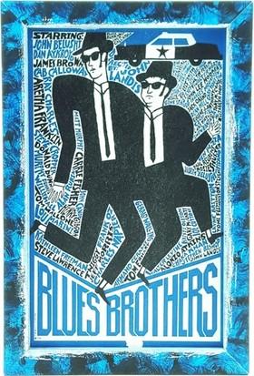 Nill Dünyası El Boyama Tasarım Blues Brothers Ahşap Pano