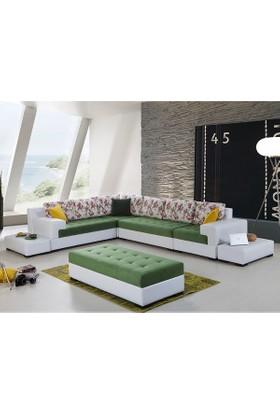 Evmanya Haus Luna Köşe Takımı Yeşil Beyaz