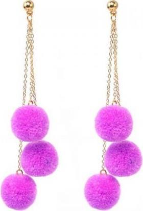 Altın Kuğu Ak 00750 Uzun Püskül Ponpon Küpe Purple
