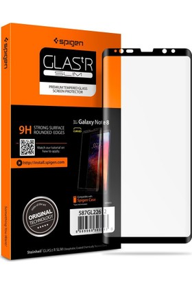 Spigen Samsung Galaxy Note 8 Kavisli Cam Ekran Koruyucu Tam Kaplayan Full Cover Black - 587GL22612
