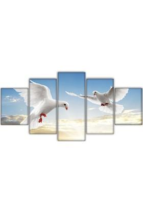 Met Beyaz Güvercinler 5 parça Kanvas Tablo