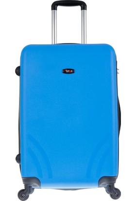 Tutqn Kırılmaz Plastik Bavul Mavi Büyük Boy Valiz %100 Pp