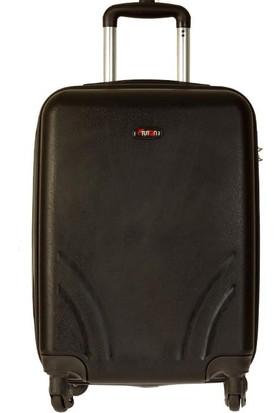 Tutqn Kırılmaz Plastik Bavul Siyah Kabin Boy Valiz %100 Pp