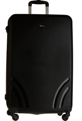 Tutqn Kırılmaz Plastik Bavul Siyah Büyük Boy Valiz %100 Pp