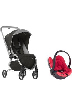 Mima Zigi Lüks Travel Sistem Bebek Arabası Kömür Siyahı - Kırmızı