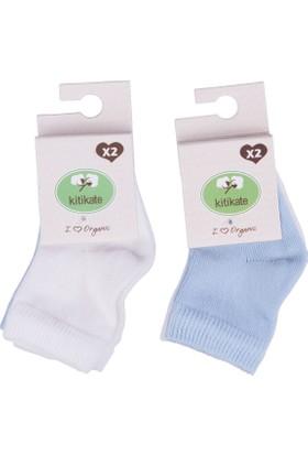 KitiKate Organik 2'li Bebe Çorap Beyaz Mavi