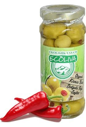 Ecoliva Organik Yeşil Zeytin Kırmızı Biber Dolgulu130 gr