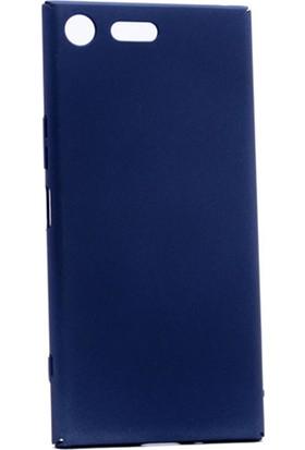 Etabibizde Sony Xperia Xz Premium 3A Rubber Kenarları Kavrayan Arka Kapak Lacivert + Nano Glass