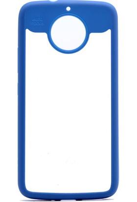 Etabibizde Motorola Moto G5 Buttom Kenarları Silikon Transparan Arka Kapak Mavi