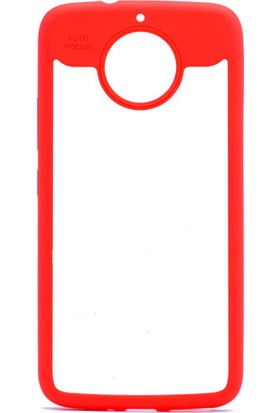 Etabibizde Motorola Moto G5S Plus Buttom Kenarları Silikon Transparan Arka Kapak Kırmızı