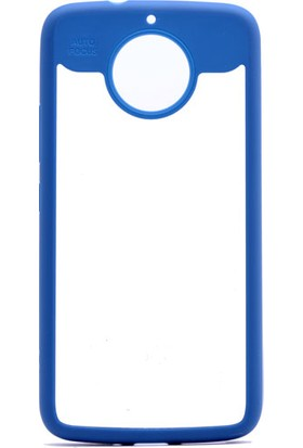 Etabibizde Motorola Moto G5S Plus Buttom Kenarları Silikon Transparan Arka Kapak Mavi