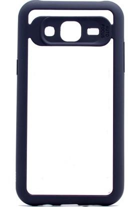 Etabibizde Samsung Galaxy J7 2015 Buttom Kenarları Silikon Transparan Arka Kapak Siyah