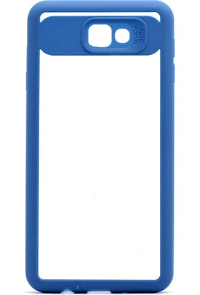 Etabibizde Samsung Galaxy J7 Prime Buttom Kenarları Silikon Transparan Arka Kapak Mavi