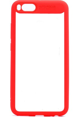 Etabibizde Xiaomi Mi A1 Buttom Kenarları Silikon Transparan Arka Kapak Kırmızı + Nano Glass Cam