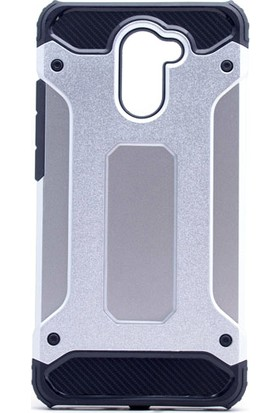 Etabibizde Huawei Y7 Prime Crash Darbe Emici Çift Katman Sert Arka Kapak Gümüş + Nano Glass Cam