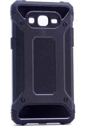 Etabibizde Samsung Galaxy J2 Prime Crash Darbe Emici Çift Katman Sert Arka Kapak Siyah