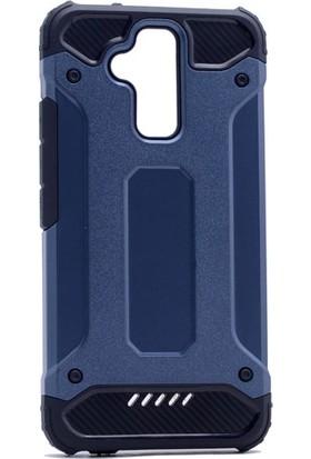 Etabibizde Asus Zenfone 3 Max ZC520TL Crash Darbe Emici Çift Katman Sert Arka Kapak Lacivert + Nano Glass Cam