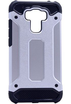 Etabibizde Asus Zenfone 3 Max ZE553KL Crash Darbe Emici Çift Katman Sert Arka Kapak Gümüş