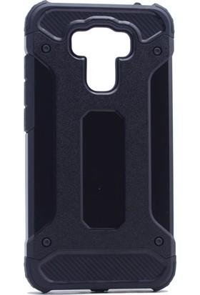 Etabibizde Asus Zenfone 3 Max ZE553KL Crash Darbe Emici Çift Katman Sert Arka Kapak Siyah + Nano Glass Cam