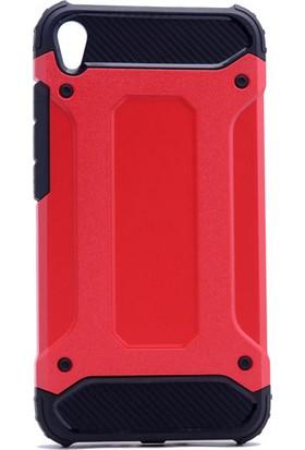 Etabibizde Asus Zenfone Live ZB501KL Crash Darbe Emici Çift Katman Sert Arka Kapak Kırmızı