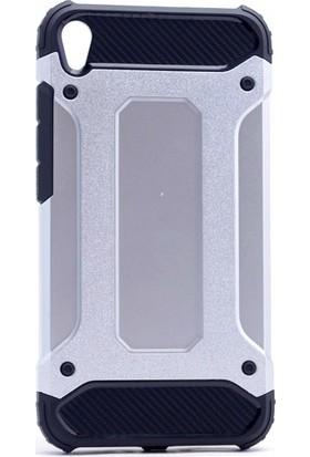 Etabibizde Asus Zenfone Live ZB501KL Crash Darbe Emici Çift Katman Sert Arka Kapak Gümüş