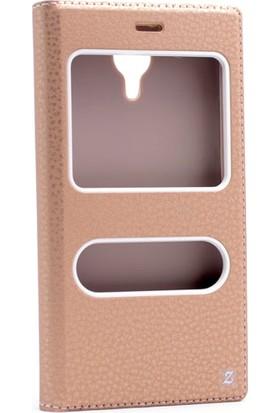 Etabibizde Casper Via P1 Pencereli Gizli Mıknatıslı Dolce Sentetik Kapaklı Kılıf Gold + Nano Glass Cam