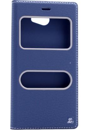 Etabibizde General Mobile Gm6 Pencereli Gizli Mıknatıslı Dolce Sentetik Kapaklı Kılıf Lacivert