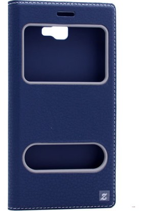 Etabibizde Samsung Galaxy J5 Prime Pencereli Gizli Mıknatıslı Dolce Sentetik Kapaklı Kılıf Lacivert + Nano Glass Cam