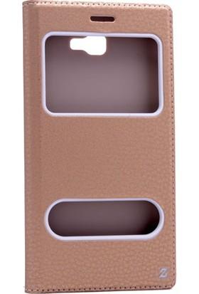 Etabibizde Samsung Galaxy J7 Prime Pencereli Gizli Mıknatıslı Dolce Sentetik Kapaklı Kılıf Gold