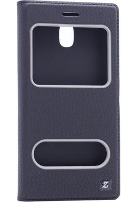 Etabibizde Samsung Galaxy J5 Pro 2017 Pencereli Gizli Mıknatıslı Dolce Sentetik Kapaklı Kılıf Siyah + Nano Glass Cam