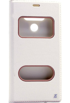 Etabibizde LG G6 Pencereli Gizli Mıknatıslı Dolce Sentetik Kapaklı Kılıf Beyaz