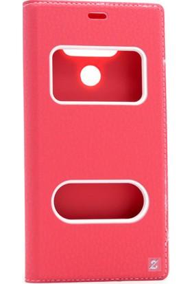 Etabibizde LG G6 Pencereli Gizli Mıknatıslı Dolce Sentetik Kapaklı Kılıf Kırmızı