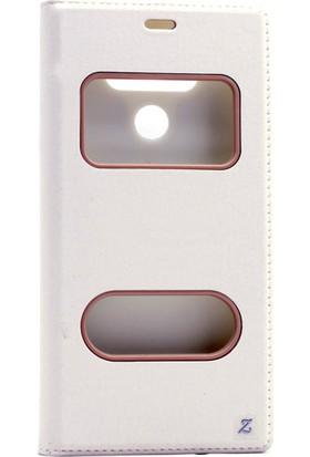 Etabibizde LG G6 Pencereli Gizli Mıknatıslı Dolce Sentetik Kapaklı Kılıf Beyaz + Nano Glass Cam