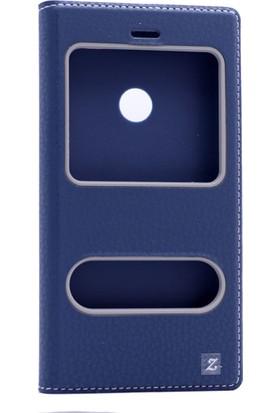 Etabibizde Huawei P9 Lite 2016 Pencereli Gizli Mıknatıslı Dolce Sentetik Kapaklı Kılıf Lacivert + Nano Glass Cam