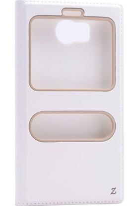 Etabibizde Vestel Venüs V3 5580 Pencereli Gizli Mıknatıslı Dolce Sentetik Kapaklı Kılıf Beyaz