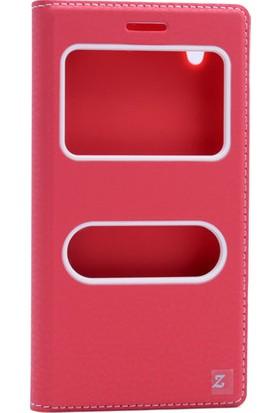 Etabibizde Vestel Venüs V3 5000 Pencereli Gizli Mıknatıslı Dolce Sentetik Kapaklı Kılıf Kırmızı