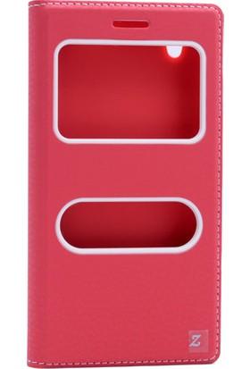 Etabibizde Vestel Venüs V3 5000 Pencereli Gizli Mıknatıslı Dolce Sentetik Kapaklı Kılıf Kırmızı + Nano Glass Cam