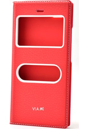 Etabibizde Casper Via M1 Pencereli Gizli Mıknatıslı Dolce Sentetik Kapaklı Kılıf Kırmızı