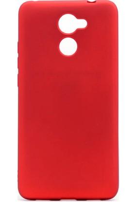 Etabibizde Huawei Y7 Prime Premier Yumuşak Doku Silikon Arka Kapak Kırmızı + Nano Glass Cam