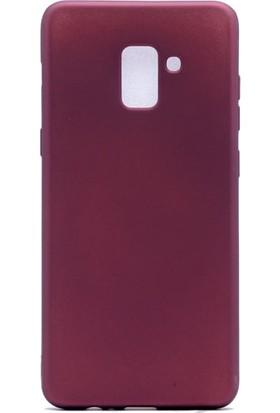 Etabibizde Samsung Galaxy A8 Plus 2018 Premier Yumuşak Doku Silikon Arka Kapak Bordo + Nano Glass Cam