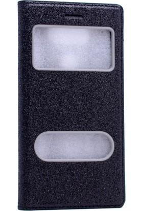 Etabibizde General Mobile Gm5 Plus Simli Dolce Gizli Mıknatıslı Sentetik Kapaklı Kılıf Siyah + Nano Glass Cam
