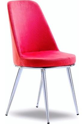 Mavievim Mutfak Sandalyesi (Kumaş) Sandalye Kırmızı