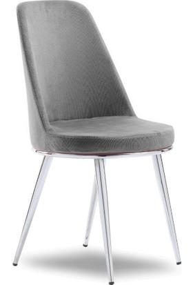 Mavievim Mutfak Sandalyesi (Kumaş) Sandalye Gri