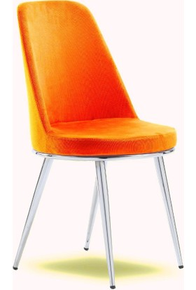 Mavievim Mutfak Sandalyesi (Kumaş) Sandalye Turuncu