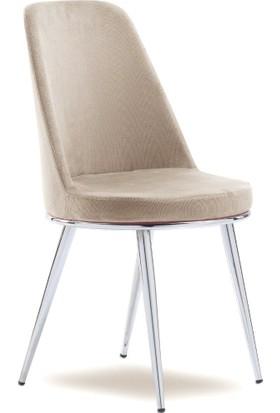 Mavievim Mutfak Sandalyesi (Kumaş) Sandalye Krem