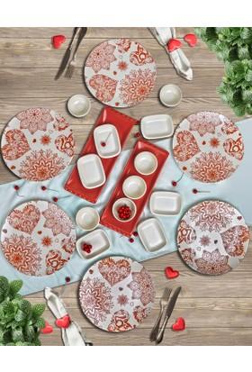 Keramika 20 Parça 6 Kişilik Kahvaltı Takımı Heart