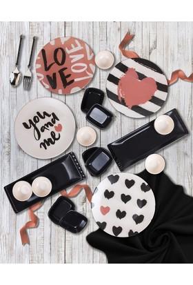 Keramika 18 Parça 4 Kişilik Kahvaltı Seti Black Love