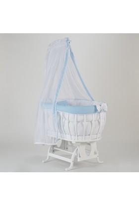 Babycom Beyaz Ahşap Sepet Beşik ve Mavi Lüks Uyku Seti