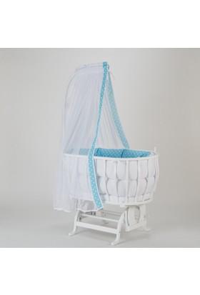 Babycom Beyaz Ahşap Sepet Beşik ve Mavi Puanlı Uyku Seti